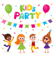 flat kids at party with confetti flags vector image vector image