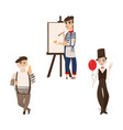 french men characters - artist mime and gourmand vector image vector image