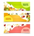 Fruits Colorful Flat Horizontal Banners Set vector image