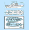 graphic schemes of modern ships vector image vector image