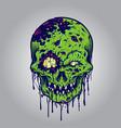 halloween zombie skull vector image vector image
