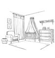 Hand drawn childrens room Furniture sketch vector image vector image