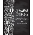 hand drawn mulled wine poster black and vector image vector image