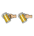 hand grab glass of beer vector image vector image