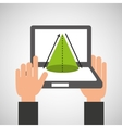 hands holds laptop-online education geometry vector image