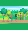 happy people hold hands celebrate environment day vector image vector image