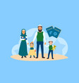 happy refugee family concept banner flat style vector image vector image