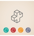 isometric icons with addition sign vector image