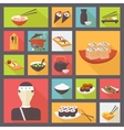 Japanese cuisine food icons set flat design vector image vector image