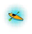 Kayak icon comics style vector image vector image