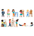 kids painting set with cartoon young artists vector image