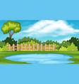 landscape background design park with pond vector image vector image