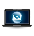 laptop blue display picture social media vector image vector image