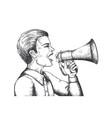 megaphone sketch hand drawn loudspeaker engraving vector image vector image