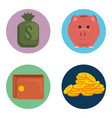 money financial set icons vector image