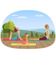 parents with girl kid does yoga various exercises