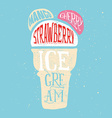 Print for t-shirts ice cream Poster for a cafe vector image vector image