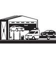 roadside assistance pickup brings car to servi vector image