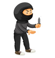 Robber in black holding a knife vector image vector image