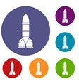 rocket icons set vector image vector image