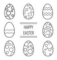 set of easter eggs on a white background vector image vector image
