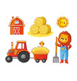 set on a farm theme on a white background vector image
