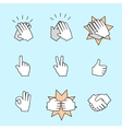 set two hands icons handshake clapping vector image vector image