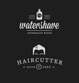 set vintage barber shop badges vector image vector image