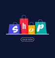 shopping bags with shop inscription online vector image