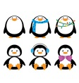 short and round penguins with clothes vector image vector image