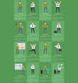 sixteen icons of businessman vector image vector image