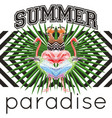slogan summer paradise tropical birds and leaves vector image vector image