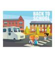 smiling children crossing street in front bus vector image