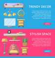 stylish and cozy home space poster set vector image vector image