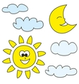 Sun moon and clouds weather cartoon icons vector image vector image