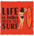 surfing label design vector image vector image