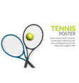 tennis banner background tennis ball racket vector image vector image