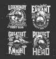 tshirt prints with knight heads mascots set vector image vector image