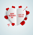 Valentine card with folded paper hearts vector image vector image