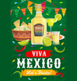 viva mexico fiesta party mexican food and drink vector image vector image