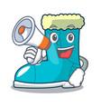 with megaphone winter boot shoe in shape cartoon vector image vector image