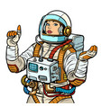 woman astronaut space exploration isolate on vector image
