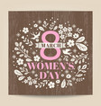 womens day greeting with floral on wood texture vector image vector image