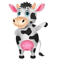 Cute cow cartoon waving hand vector image