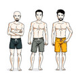 handsome men standing wearing beach shorts people vector image