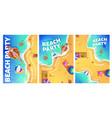 beach party cartoon flyer with woman in ocean vector image vector image