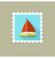 Boat with a Sail flat stamp long shadow vector image