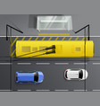cars trolleybus stop composition vector image vector image