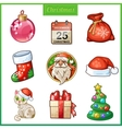 Cartoon icons set for Christmas and New Year vector image vector image