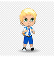 cartoon schoolboy with green anime eyes isolated vector image